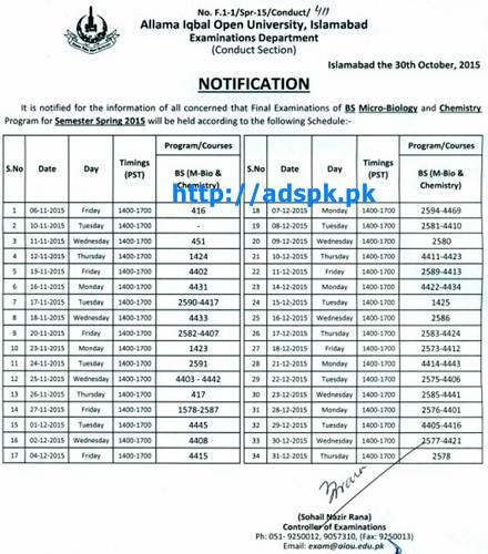 AIOU Latest Date Sheet of BS (Chemistry & Microbiology) Spring 2015 Papers Starting from 06-11-2015 by Allama Iqbal Open University Islamabad Pakistan