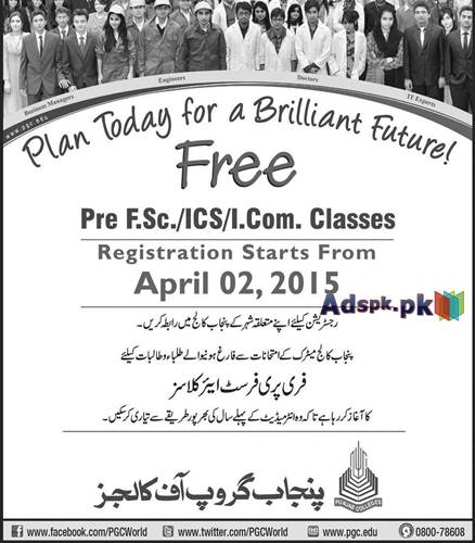 Admissions Open 2015 in Punjab Group of Colleges for Pre F