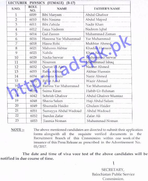 BPSC Written Test Results Lecturer Physics Male-Female 59