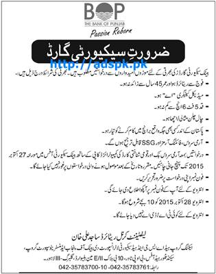Bank of Punjab Security Jobs 2015 for Security Guards