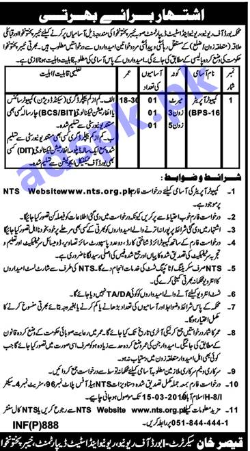 Board of Revenue BOR KPK Jobs 2019 NTS Written Test MCQs