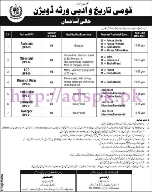 CTS New Jobs National History & Literary Heritage Division Jobs 2017 Written Test MCQs Syllabus Paper for Assistant Steno Typist LDC Dispatch Rider Naib Qasid Jobs Application Form Deadline 05-06-2017 Apply Now by Candidates Testing Services
