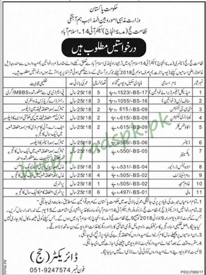 Hajj Dispensary Islamabad Jobs 2018 Women Medical Officers