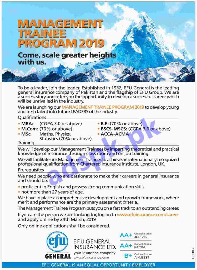 EFU General Insurance Limited Management Trainee Program