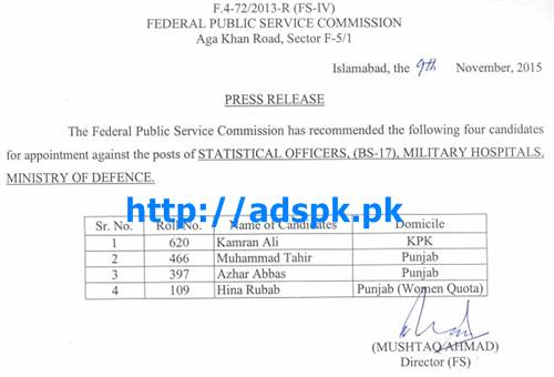 FPSC Appointment against Jobs of Statistical Officers (F.4-72-2013) in Military Hospitals Ministry of Defence Results Updated on 10-11-2015 by FPSC Pakistan