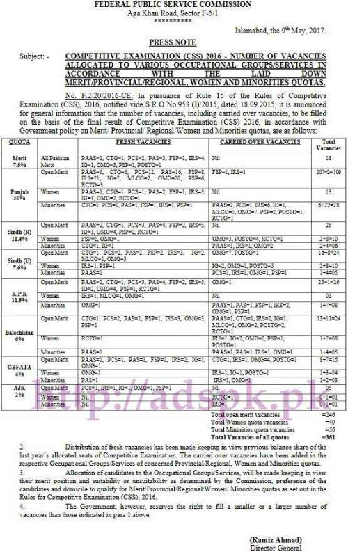 FPSC Competitive Examination (CSS) 2016 No. F.2/20/2016-C Number of Vacancies 351 Posts Allocated to Various Occupational Groups/ Services in Accordance with the laid down All Pakistan Merit/ Provincial/ Regional Women and Minorities Quotas Updated on 09-05-2017 by Federal Public Service Commission Islamabad