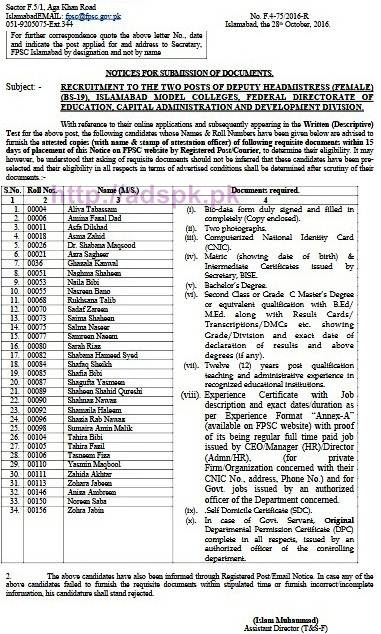 FPSC Deputy Headmistress (Female) F.4-75/2016 Candidate List for Submission of Documents Required within 15 days for Jobs in Islamabad Model Colleges Federal Directorate of Education Capital Administration and Development Division FPSC Results List Updated on 28-10-2016 by FPSC