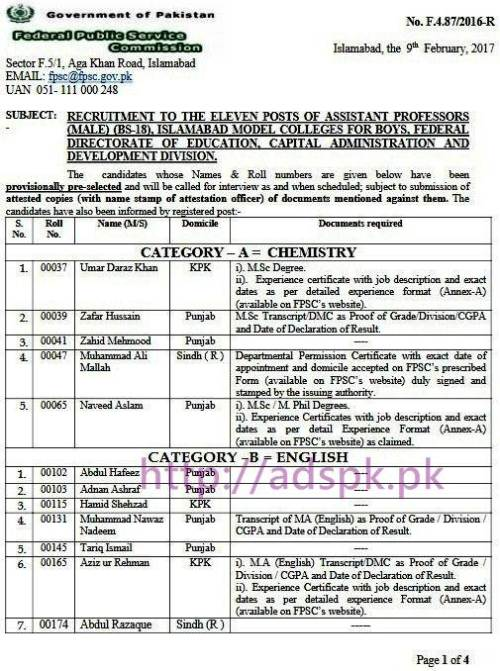 FPSC Provisionally Pre-selected List Results Assistant Professor (Male) F.4-87/2016 Categories (Chemistry English Biology Physics Math Urdu Computer) in Islamabad Model Colleges for Boys Federal Directorate of Education Results Updated on 09-02-2017 by FPSC