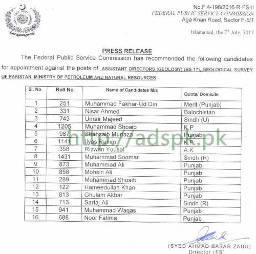 FPSC Results Assistant Director Geology F.4-198/2016 in Geological Survey of Pakistan Ministry of Petroleum and Natural Resources Results Updated on 14-07-2017 by FPSC Islamabad