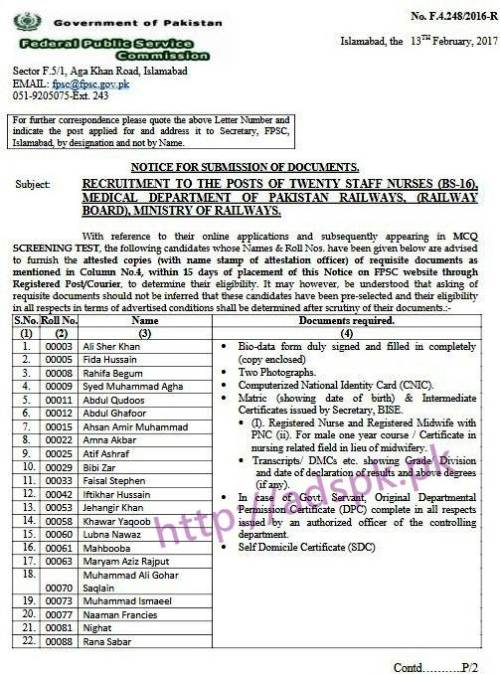 FPSC Staff Nurse F.4-248/2016 Candidate List for Submission of Documents Required within 15 days for Jobs in Medical Department of Pakistan Railways (Railway Board) Ministry of Railways Results Updated on 13-02-2017 by Federal Public Service Commission Islamabad