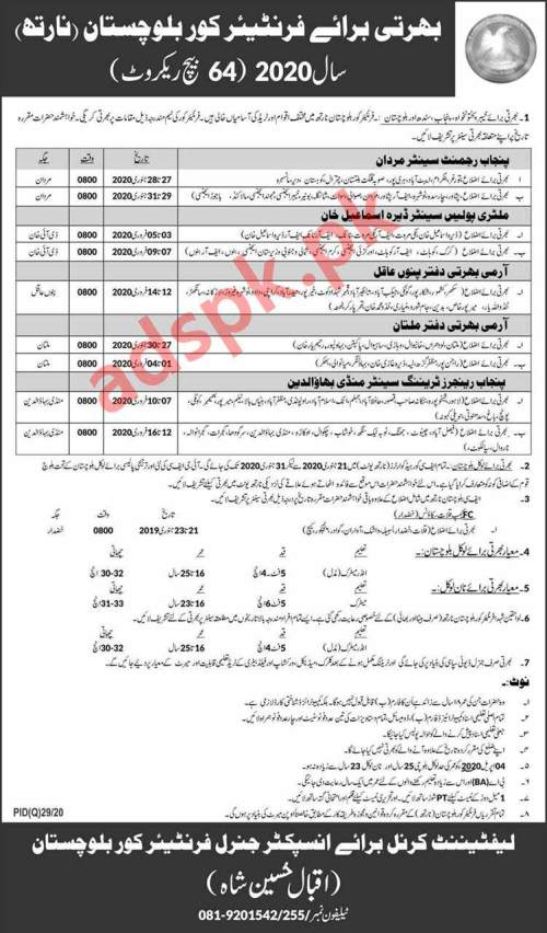 Frontier Corp Balochistan FC North Batch 64 Jobs 2020 for General Duty Sipahi Jobs Recruitment Deadline 31-01-2020 Apply Now