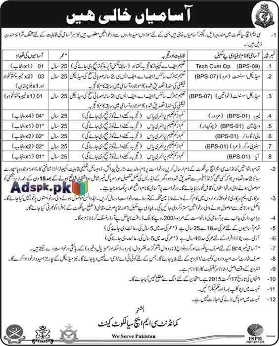 How to Apply Jobs of CMH Sialkot Jobs 2015 for BPS-01 to