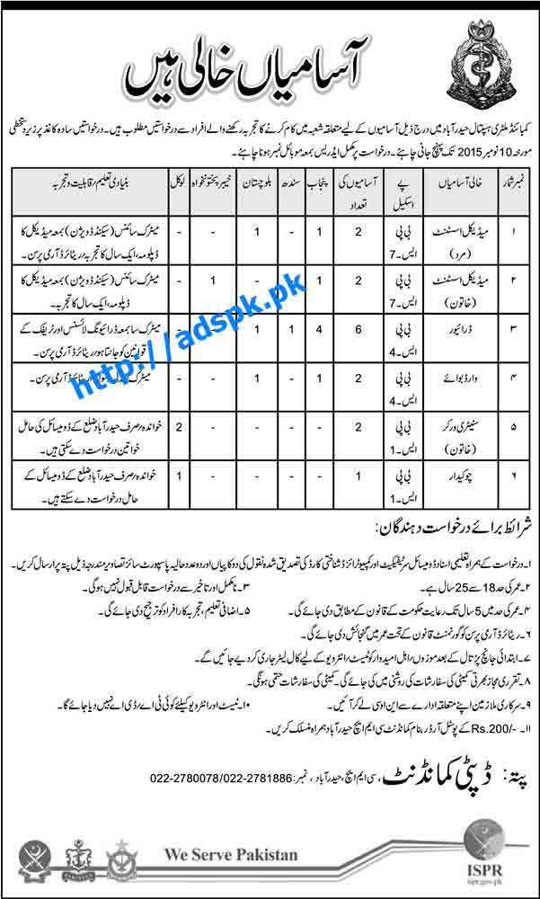 How to Apply Jobs of Combined Military Hospital Hyderabad