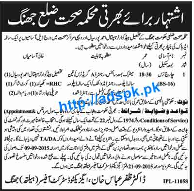 How to Apply Jobs of Health Department District Jhang Jobs