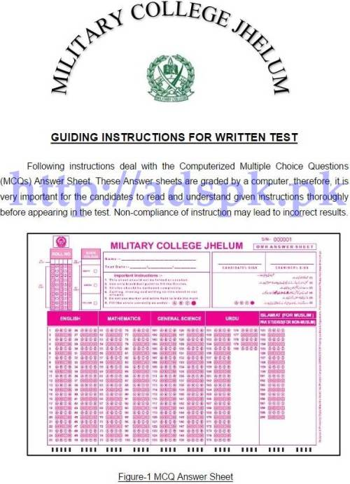 How to Attempt Paper in English Guiding Instructions for MCQs Written Test by Military College Jhelum