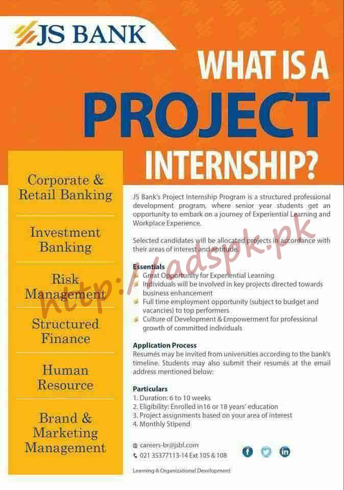 Js Banks Project Internship Program 2018 Apply Online Now Adspk Pk Very Helpful For Students And Jobless People