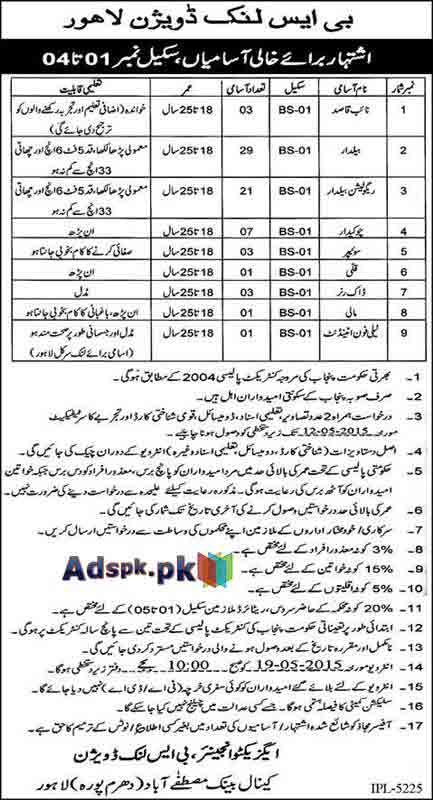 Job Opportunities for BPS-01 to BPS-04 Jobs in BS Link