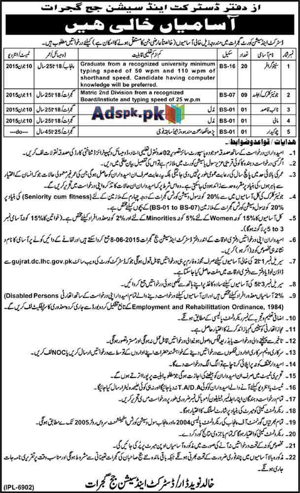 Latest Job Opportunities 2015 in District and Session