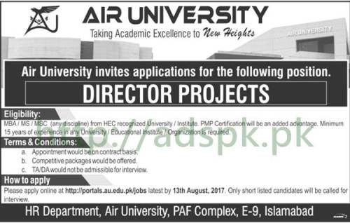 Jobs Air University Islamabad Jobs 2017 Director Projects Jobs Application Deadline 13-08-2017 Apply Online Now