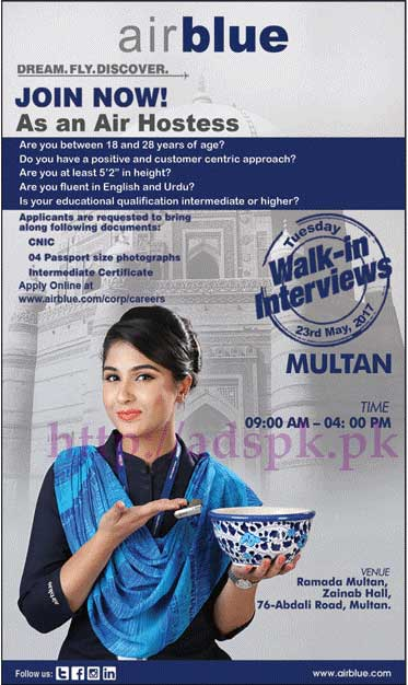 Jobs Airblue Limited Multan Jobs 2017 for Air Hostess Walk in Interview Dated 23-05-2017 Apply Online Now