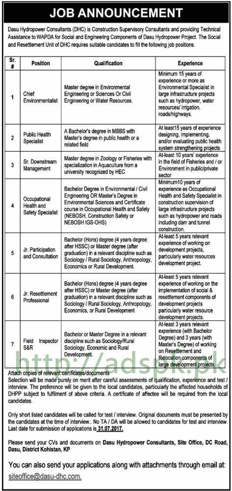 Jobs Dasu Hydropower Consultants DHC KPK Jobs 2017 Chief Environmentalist Public Health Specialist Senior Downstream Management Occupational Health and Safety Specialist Jobs Application Deadline 31-07-2017 Apply Now