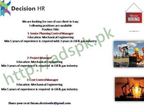 Jobs Decision HR Jobs 2017 Senior Planning Control Manager Project Manger Cost Control Manager Apply Online Now