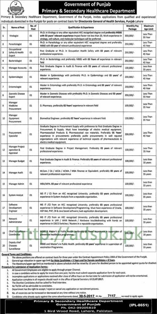 Jobs Directorate General of Health Services Punjab Lahore Jobs 2017 for PhD MBBS Postgraduate Degree Masters and Other Staff Jobs Application Deadline 21-07-2017 Apply Now