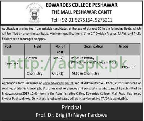 Jobs Edwardes College Peshawar Jobs 2017 Lecturers Botany Chemistry Jobs Application Deadline 15-08-2017 Apply Now