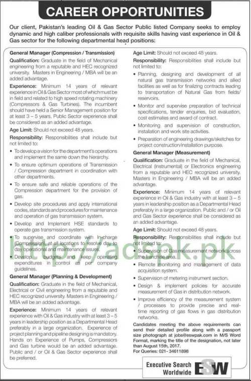 Jobs Executive Search Worldwide ESW Oil & Gas Sector Jobs 2017 General Managers various Disciplines Jobs Application Deadline 15-08-2017 Apply Now
