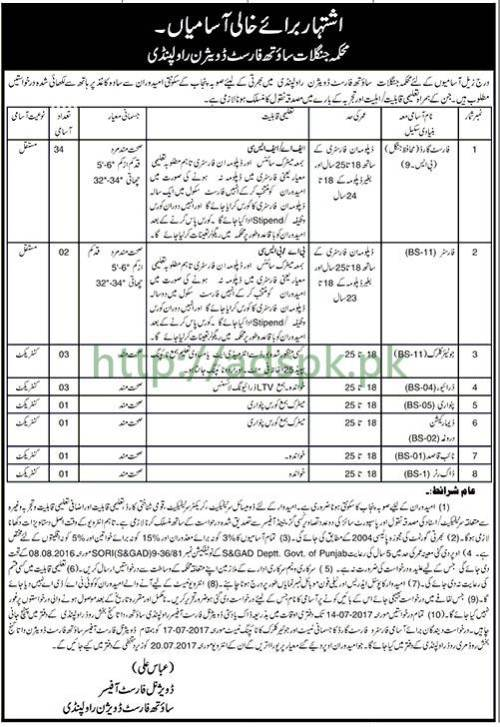 Jobs Forest Department South Forest Division Rawalpindi Jobs 2017 for Forest Guard Forester Junior Clerk Driver and Other Staff Jobs Application Deadline 14-07-2017 Apply Now