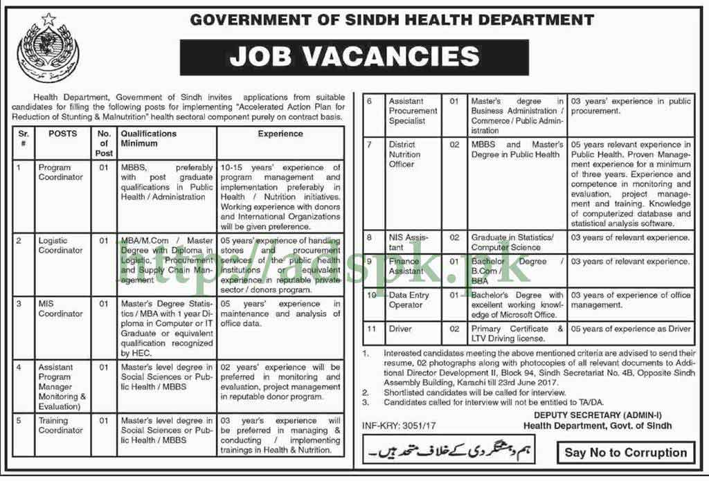 Jobs Government of Sindh Health Department Karachi Jobs
