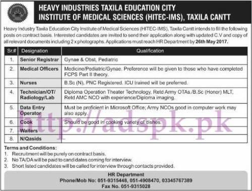 Jobs Heavy Industry Taxila Education City Institute of Medical Sciences HITEC-IMS Taxila Jobs 2017 for Senior Registrar Medical Officers Nurses Technician Data Entry Operator Jobs Application Deadline 26-05-2017 Apply Now