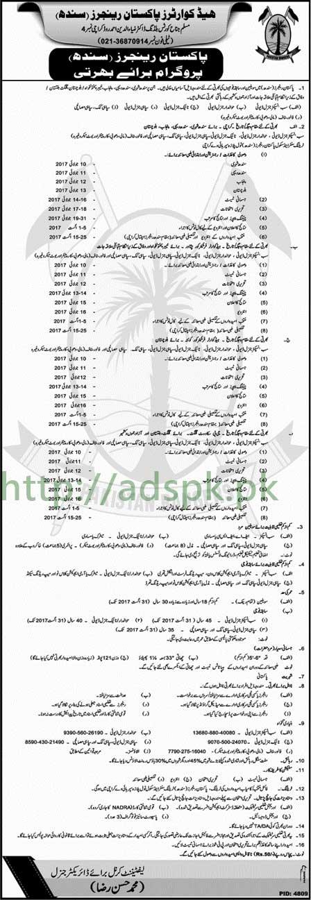 Jobs Headquarters Pakistan Rangers Sindh Jobs 2017