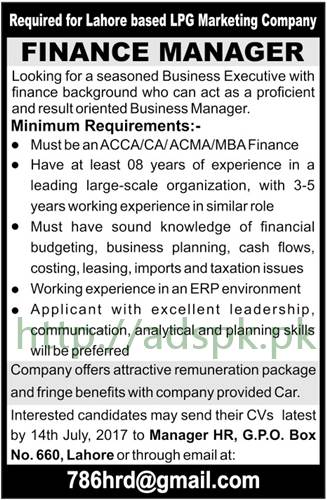 Jobs LPG Marketing Company P.O Box 660 GPO Lahore Jobs 2017 for Finance Manager Jobs Application Deadline 14-07-2017 Apply Now