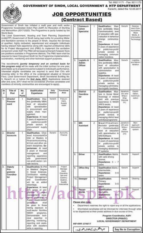 Jobs Local Government & HTP Department Karachi Govt. of Sindh Jobs 2017 for Directors Deputy Director Communication Specialist Admin Officer Jobs Application Deadline 02-06-2017 Apply Now