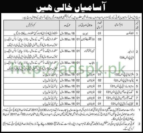 Jobs Military College Sui Jobs 2017 for Accountant Driver and Other Staff Jobs Application Deadline 30-07-2017 Apply Now