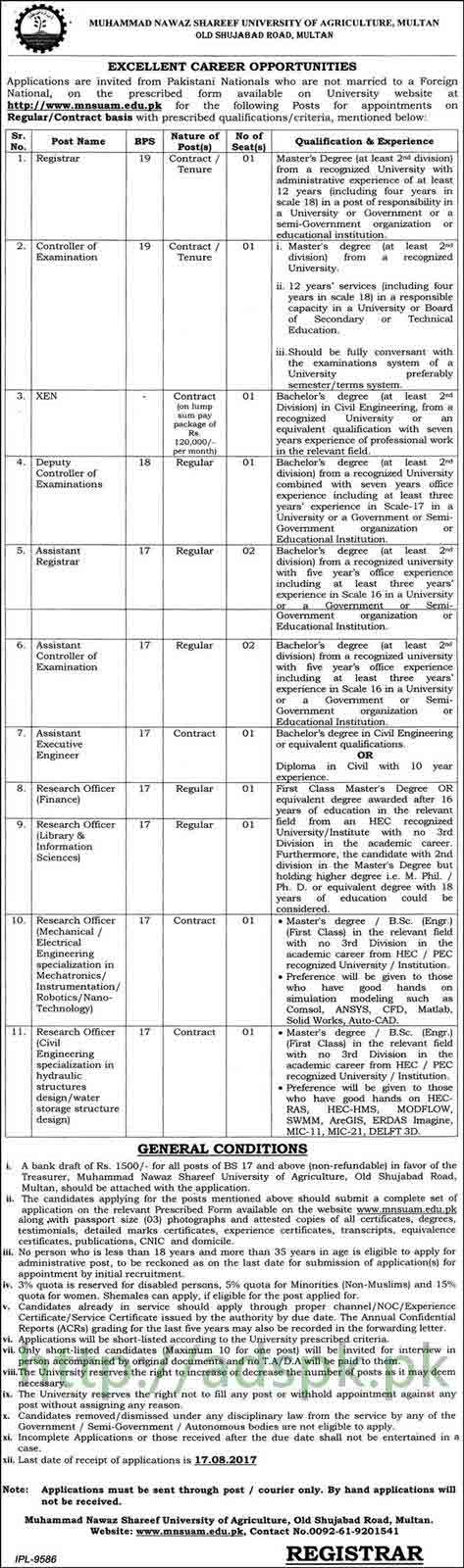 Jobs Muhammad Nawaz Shareef University of Agriculture Multan Jobs 2017 Registrar Controller Examination XEN Assistant Registrar Research Officers Jobs Application Form Deadline 17-08-2017 Apply Now