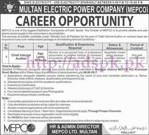 Jobs Multan Electric Power Company MEPCO Jobs 2017 for Chief Internal Auditor Jobs Application Deadline 08-06-2017 Apply Now