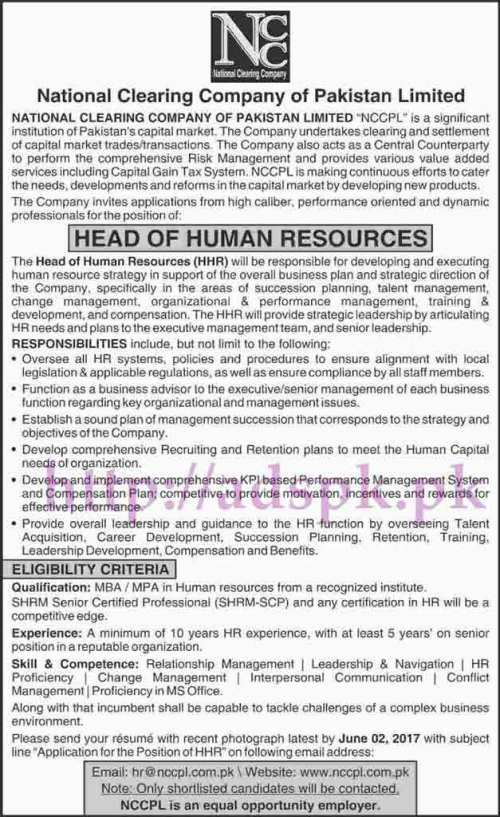 Jobs National Clearing Company of Pakistan Limited NCCPL Jobs 2017 for Head of Human Resources Jobs Application Deadline 02-06-2017 Apply Online Now