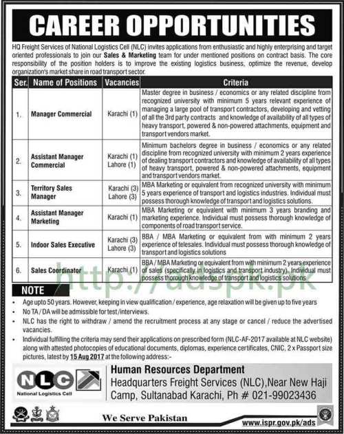 Jobs National Logistics Cell NLC Karachi Lahore Jobs 2017 Manager Commercial Assistant Mangers and Other Staff Jobs Application Deadline 15-08-2017 Apply Now