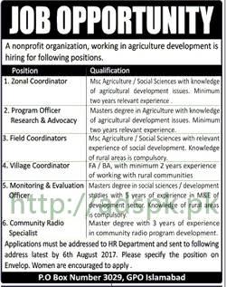 Jobs Non Profit Organization P.O Box 3029 Islamabad Jobs 2017 Zonal Coordinator Program Officer Coordinators Field Village M&E Officer Jobs Application Deadline 06-08-2017 Apply Now