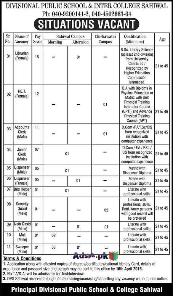 Jobs Open in Divisional Public School & Inter College
