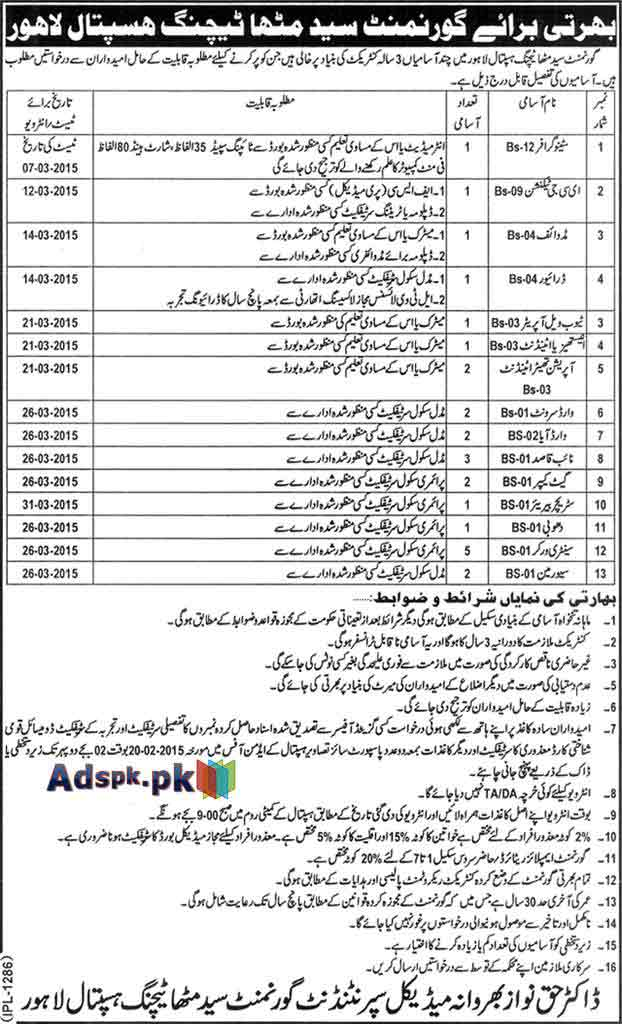 Jobs Open in Govt. Syed Mitha Teaching Hospital Lahore for