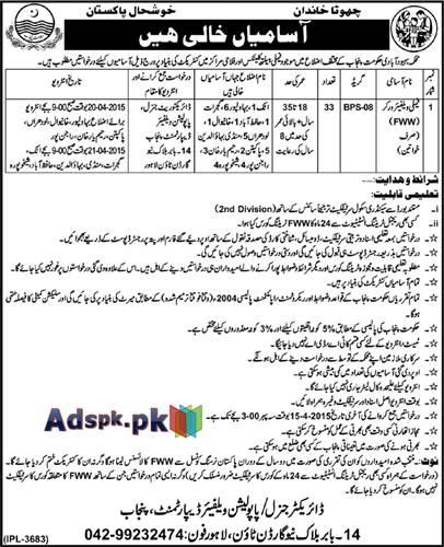 Jobs Open in Population Welfare Department Punjab for