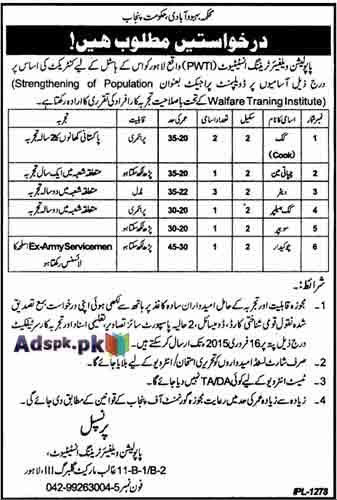 Jobs Open in Population Welfare Training Institute Lahore