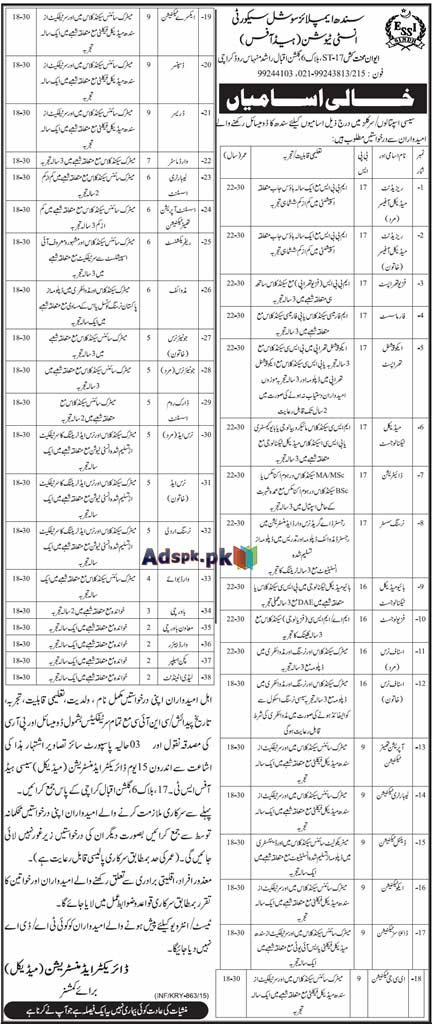 Jobs Open in Sindh Employees Social Security Institution