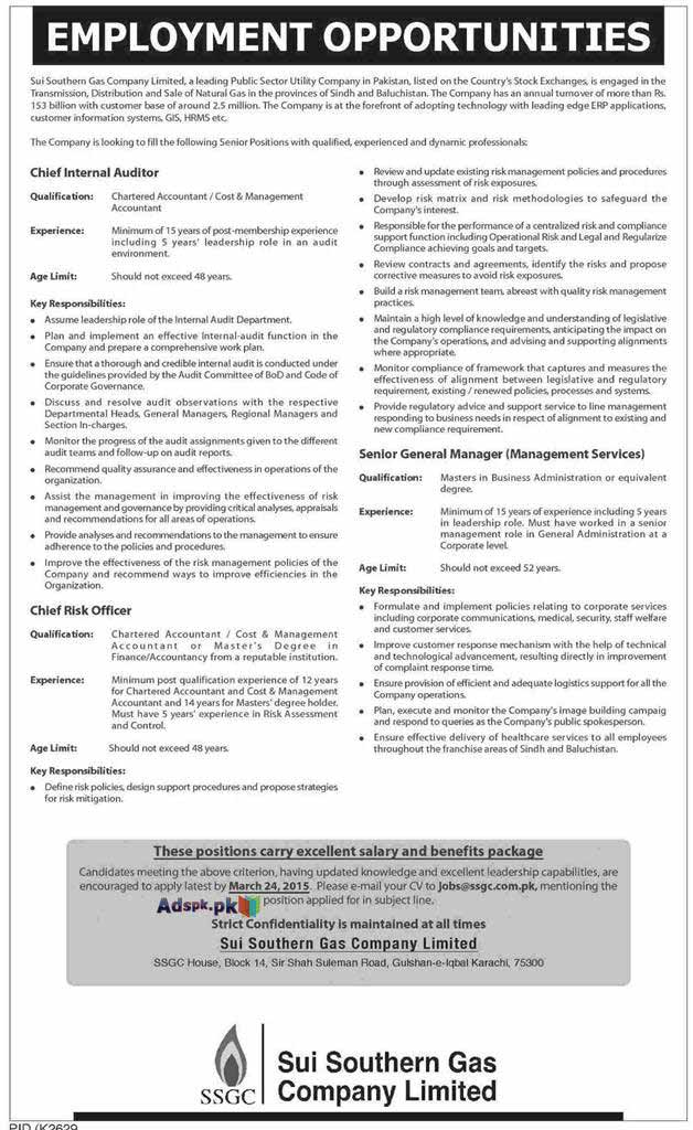 Jobs Open in Sui Southern Gas Company Limited Karachi for