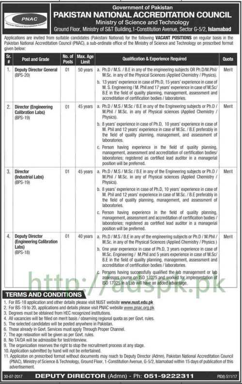 Jobs Pakistan National Accreditation Council PNAC NUST Islamabad Jobs 2017 Deputy Director General Directors Engineering Calibration Industrial Labs Deputy Director Jobs Application Deadline 14-08-2017 Apply Now
