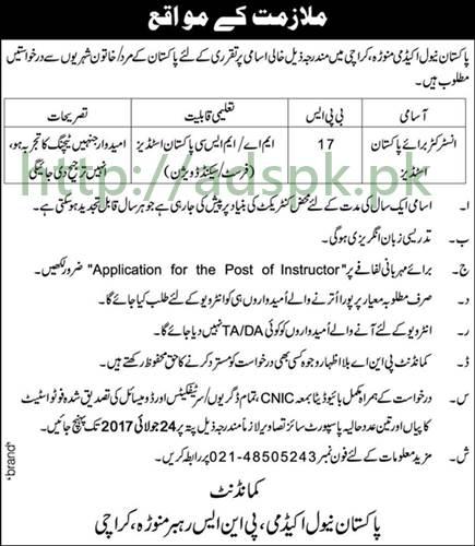 Jobs Pakistan Naval Academy Manora Karachi Jobs 2017 for Instructor Pakistan Studies Jobs Application Deadline 24-07-2017 Apply Now