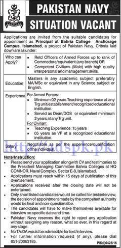 Jobs Pakistan Navy Bahria College Anchorage Campus Islamabad Jobs 2017 for Principal Jobs Application Deadline 12-06-2017 Apply Now